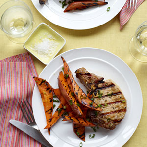 Grilled Pork Chops And Sweet Potato Wedges
