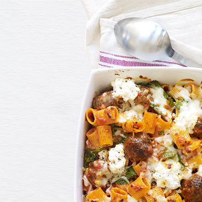 baked pasta with meatballs and spinach recipe