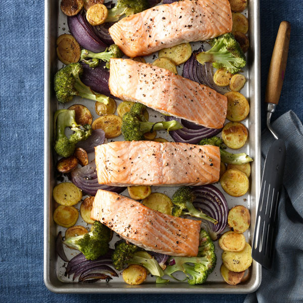 Roasted Salmon With Crispy Potatoes And Broccoli Recipe