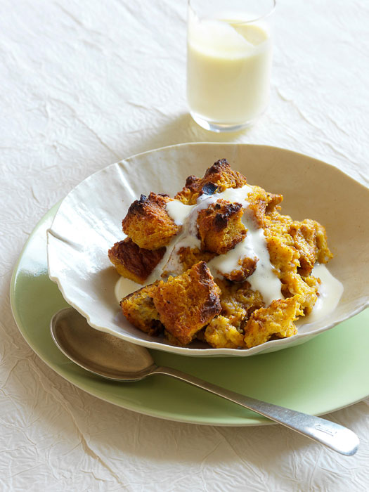 Pumpkin Bread Pudding with Vanilla-Rum Custard Sauce Recipe