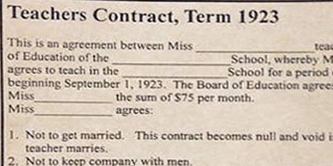 The Rules For This 1920s Teachers Contract For Women Are Totally – Teacher Agreement Contract