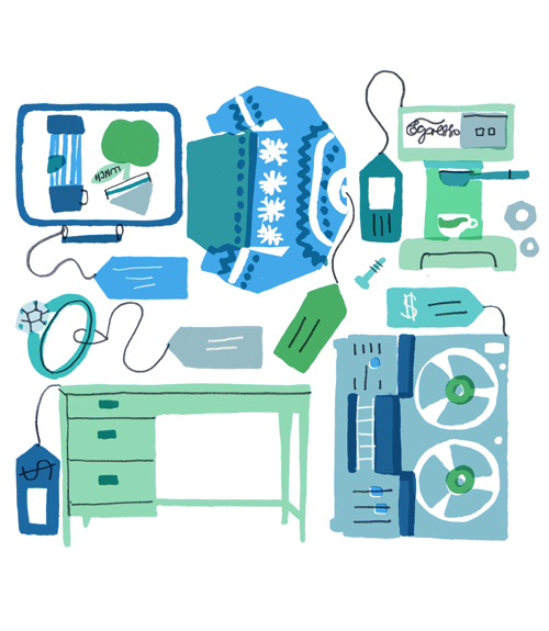 illustration of home goods. Selling Used Items Online   Selling Used Goods