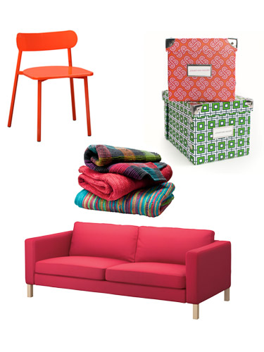 pink sofa red kitchen chair colorful storage boxes colorful blankets bright colorful home