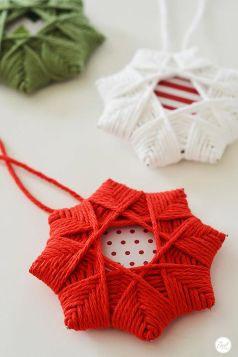 The kiddos will love helping you craft these easy star ornaments.  Get the tutorial at Live Craft Eat.  What you'll need: Yarn ($10; amazon.com); Christmas scrapbook paper ($15; amazon.com)